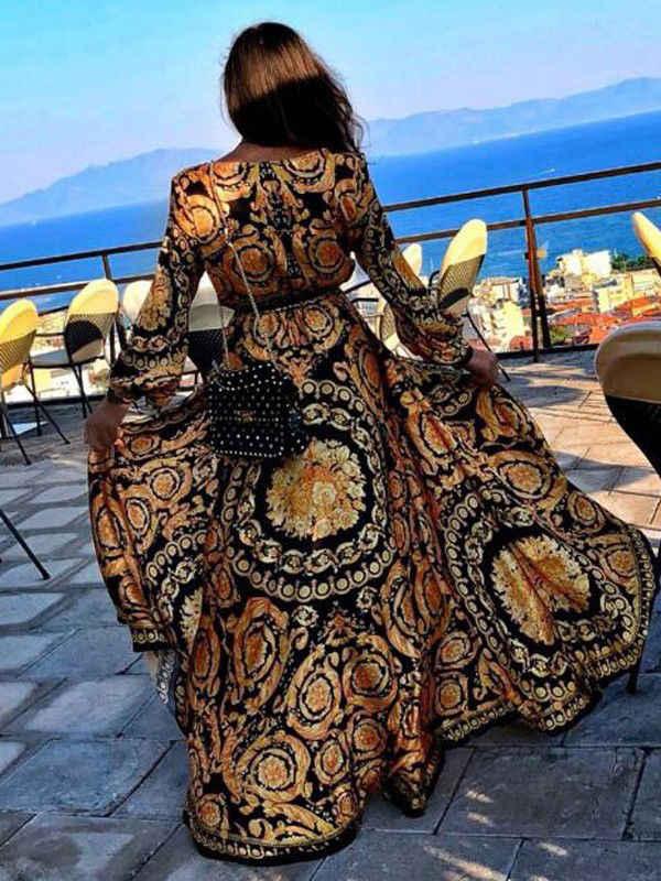 패션 우아한 여성 숙녀 섹시한 깊은 V 목 반짝이 꽃 인쇄 파티 드레스 정장 긴 드레스 섹시한 Clubwear