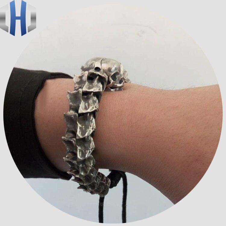Handmade Python Bone Bracelet Silver Original Retro Skull S925 Sterling Men And Women Bracelets