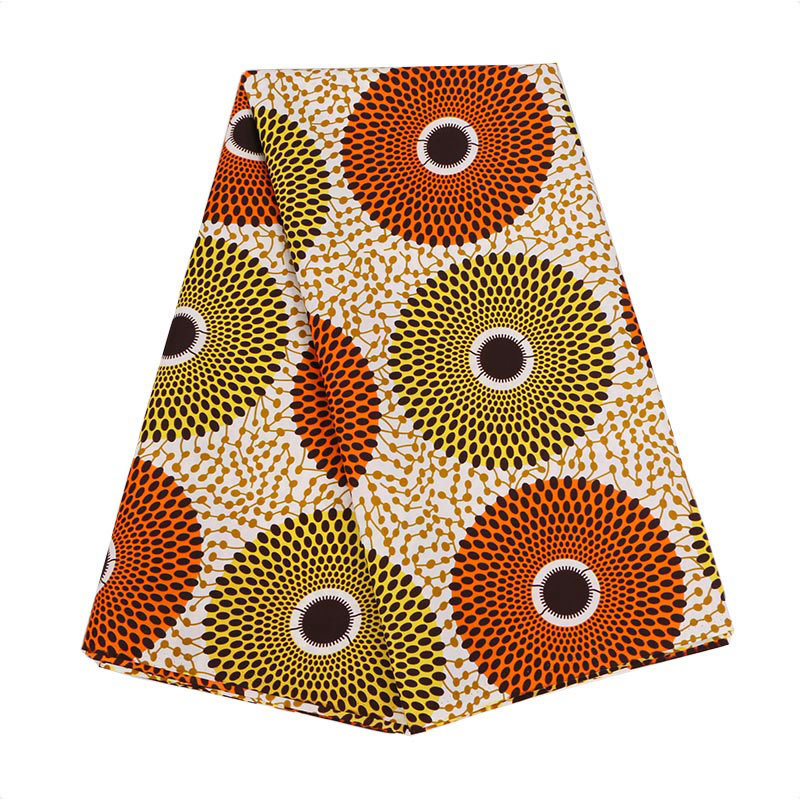2019 Latest Arrivals New African Guaranteed Dutch Real Wax Orange And Yellow Dot Pattern Printed 100% Polyester Fabric 6Yards