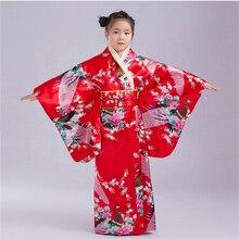 110 до 150 см платье-кимоно в японском стиле для маленьких девочек детский банный халат с вышивкой павлина для девочек Свободная верхняя одежда Yukata