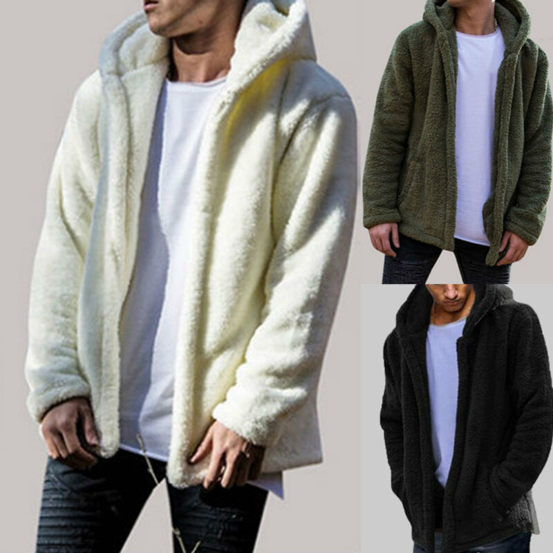 2019 <font><b>Winter</b></font> Autumn <font><b>Mens</b></font> Teddy Bear Pocket Coat Fleece <font><b>Fur</b></font> Casual Hoodies Open <font><b>Shirt</b></font> Warm Solid Hoodies Outwear Coat Long Sleeve image
