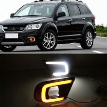 Carro piscando 2 pçs led carro luz de circulação diurna nevoeiro buraco turn signal relé drl para dodge journey fiat freemont 2014 2016