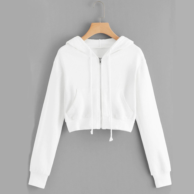 #H30 Spring Autumn Womens Tops And Blouses White Crop Top Women Solid Color Hooded Casual Long Sleeve Zipper Pocket Shirt 1