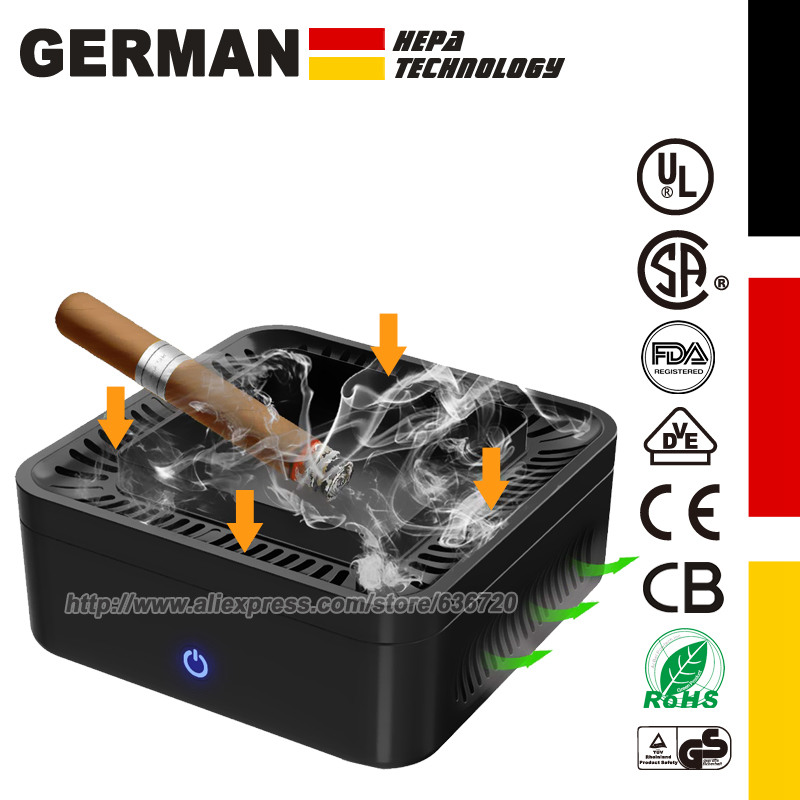 Air Purifier Smokeless Ashtray For Cigarette Smoker, USB Rechargeable Smoke Grabber Ash Tray For Indoor Outdoor Home Office Car