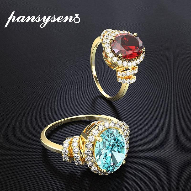 PANSYSEN 18k or jaune couleur rubis bagues en topaze pour les femmes de mariage fiançailles argent 925 bijoux fins bague en gros