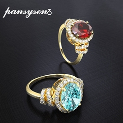 PANSYSEN 18k Yellow Gold Color Ruby Topaz Gemstone Rings for Women Wedding Engagement Silver 925 Fine Jewelry Wholesale Ring