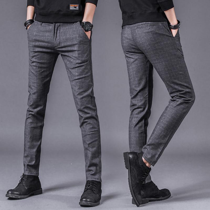 Новинка весны 2019, мужские многоцветные повседневные штаны, деловые модные эластичные одноцветные облегающие штаны NYX5
