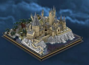Large-scale Castle Model Building Blocks Movie Magic School of Witchcraft 16060 Panoramic View Bricks Toys For Children image