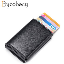 Bycobecy Travel Card Wallet 2019 Men And Women Credit Card Holder RFID Aluminium Business Card Holder Crazy Horse PU Leather(China)