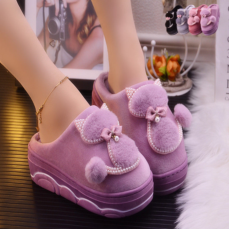 Women's Slippers Sexy Rhinestone Platform Home Slippers Ladies Winter Indoor Shoes Woman House Slipper Pantoufles Femme