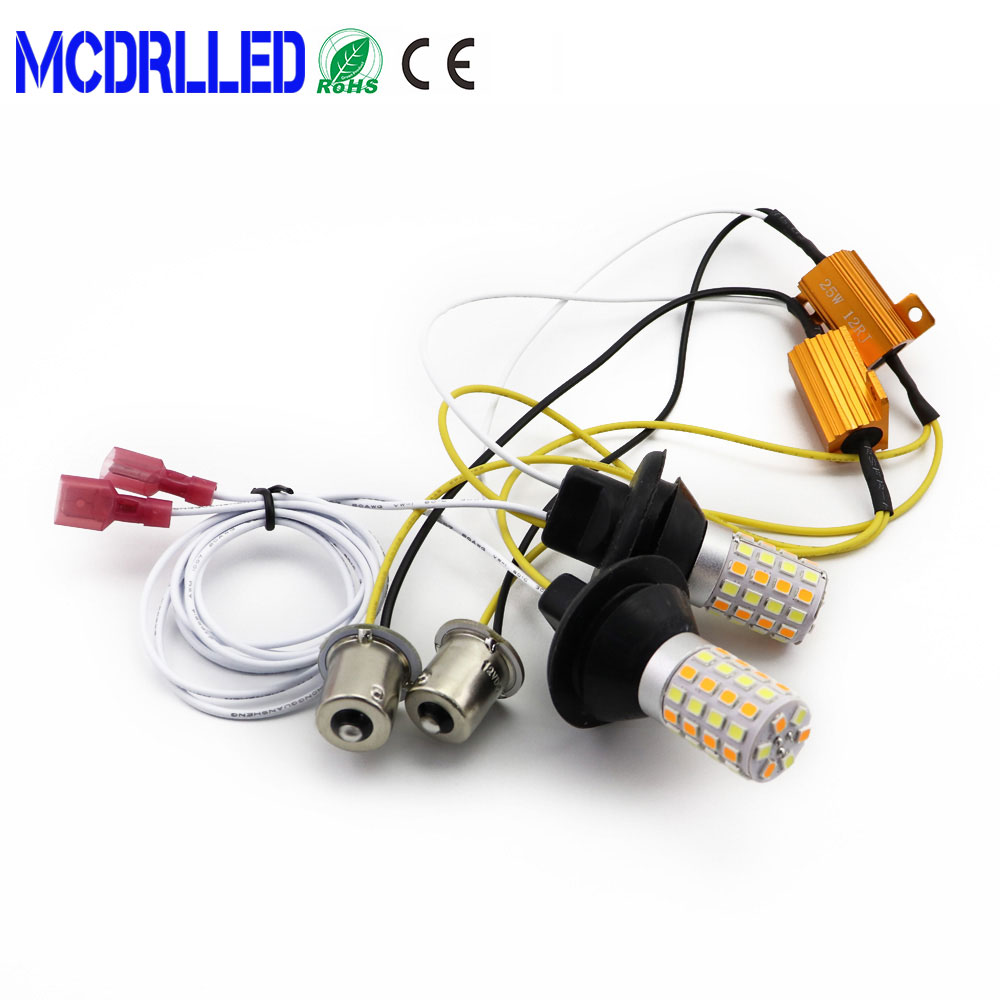 Dual Color <font><b>1156</b></font> Ba15s Led <font><b>P21w</b></font> <font><b>Canbus</b></font> Py21w Led Light Daytime Running Light+turn Signal Dual Mode Drl Led External Lights image