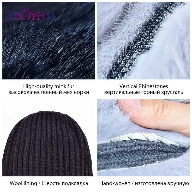 Image 5 - ENJOYFUR Real Fox Fur Hat Female Natural Mink Fur Women Winter Hats Vertical Rhinestones High Quality Beanies Fashion Caps-in Women's Skullies & Beanies from Apparel Accessories