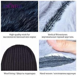 Image 5 - Enjoyfurリアルキツネの毛皮の帽子女性の自然なミンクの毛皮女性の冬帽子垂直ラインストーン高品質ビーニーファッションキャップ