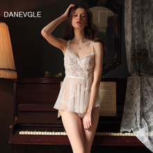 Danvegle sexy lady perspective nightdress white lace petals embellished sleepwear temptation home service