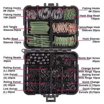 Boîte de matériel de pêche à la carpe,kit d'accessoire comprenant hameçons pivotants, manchons anti enchevêtrement, perles d'arrêt, appât, amorces, vis et autres, boîte de 420 pièces, 2