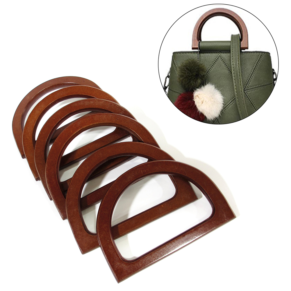 1 Pcs D Round Shape Wooden Bag Handle Replacement For DIY Shoulder Bag Making Handbag Tool