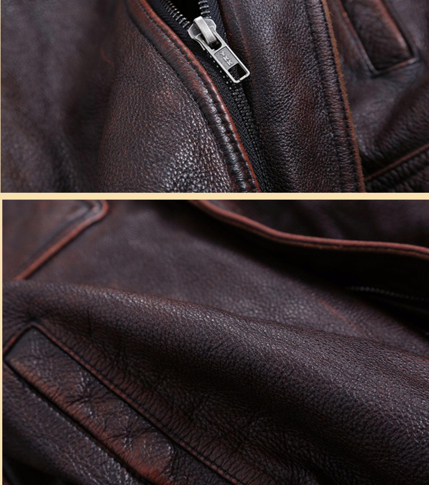 H1db6597f3020430cb2ea712c87005de9u AYUNSUE Vintage Genuine Cow Leather Jacket Men Plus Size Cowhide Leather Coat Slim Short Jacket Veste Cuir Homme L-Z-14 YY1366
