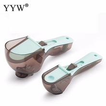 2pcs/Set Plastic Adjustable Measuring Spoon Measure Cup With Scale For Kitchen Cooking Scoops Tools Bakeware Baking Accessoires