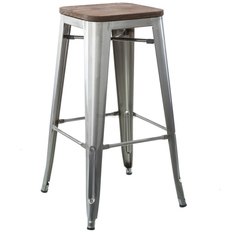 European Restaurant Iron Bar Cafe High Stool Metal Bar Chair Industrial Iron Back Chair