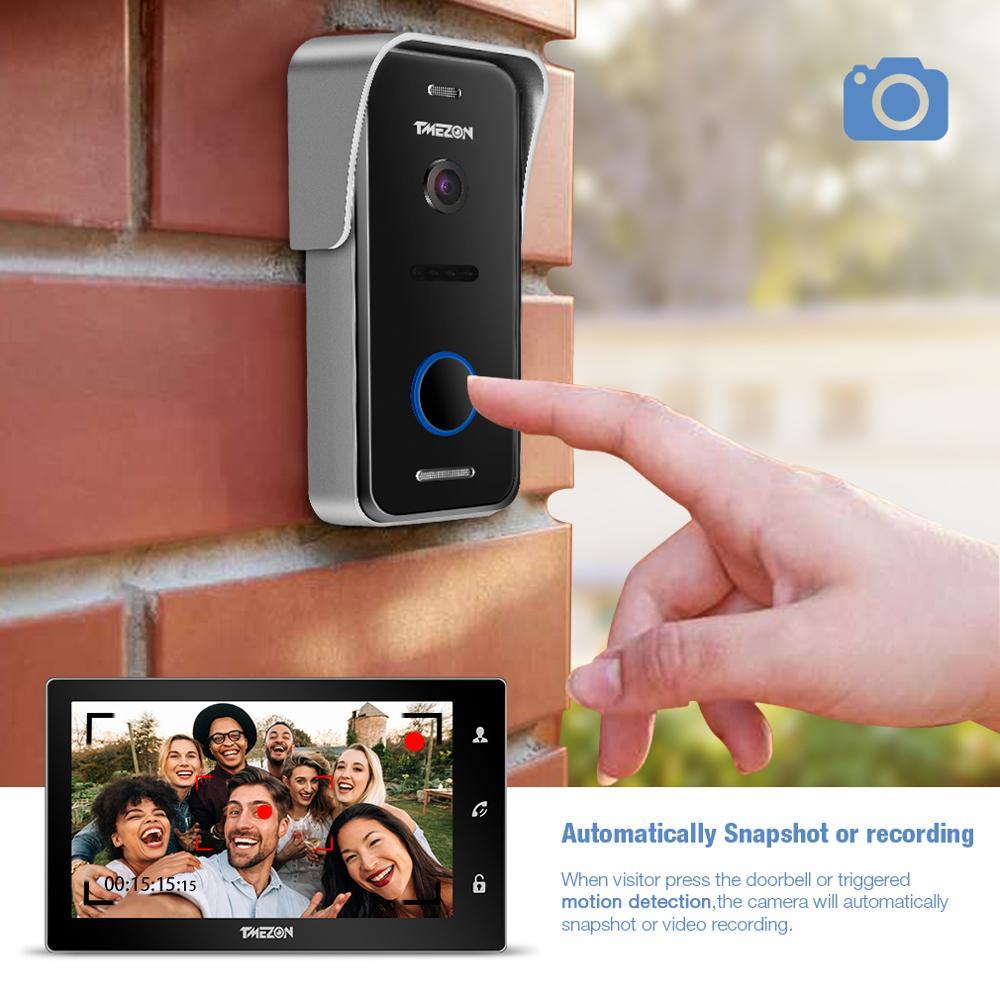 Купить с кэшбэком TMEZON 10 Inch Wireless Wifi Smart IP Video Doorbell Intercom System ,1xTouch Screen Monitor with 1x720P Wired Door Phone Camera