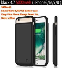 Chargeur de batterie 5000mAh étui pour iPhone 6 s 6 s 7 8 chargeur de batterie boîtier de charge housse de batterie Ultra mince sac à dos externe.