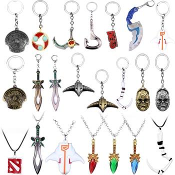 Dota 2 Keychain Keyrings Sword Weapons Pendant Toy Key Chain Talisman Props Dota 2 Logo Dog Tag Drop Jewelry Cute Deco For FANS 1