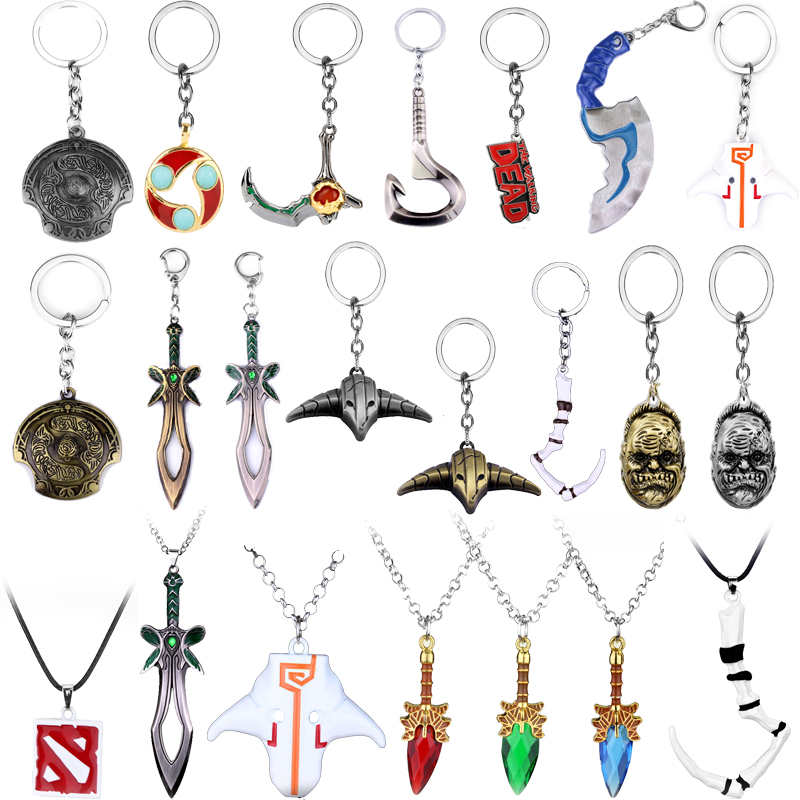 Dota 2 Keychain Keyrings Sword Weapons Pendant Toy Key Chain Talisman Props Dota 2 Logo Dog Tag Drop Jewelry Cute Deco For FANS