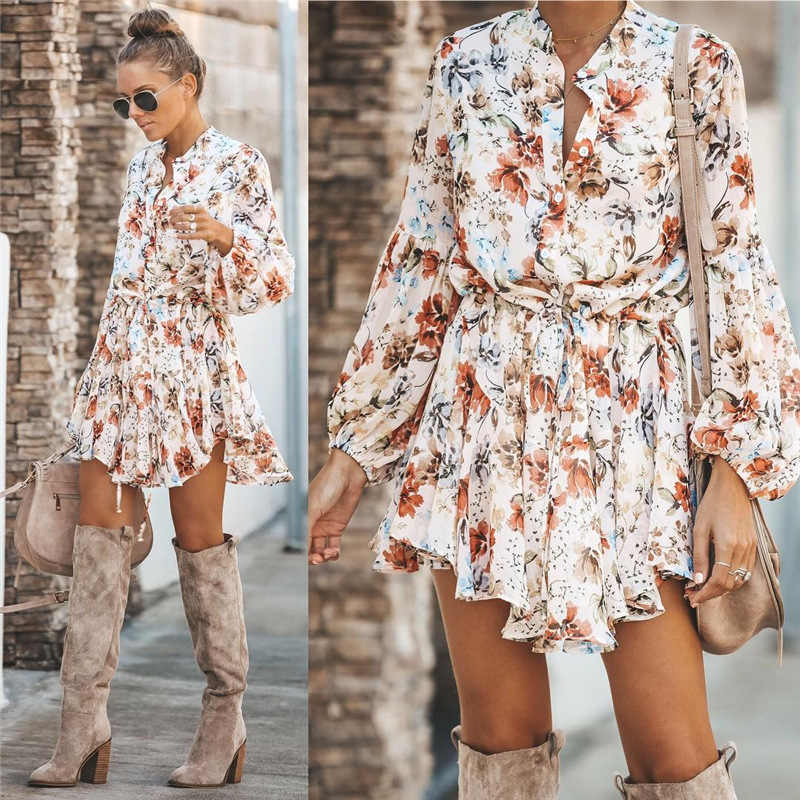 White Ruffled Mini Vintage Print Irregular Dress Autumn Clothing Lantern Sleeve Elegant Chiffon Dress Lace up Slim Streetwear