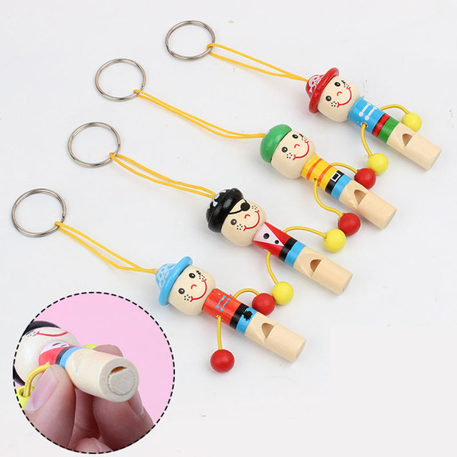 Wooden Classic Toy Musical Instrument Whistling Mini Cartoon Pirate Style Wood Whistle Kids Music Educational Toys for Children
