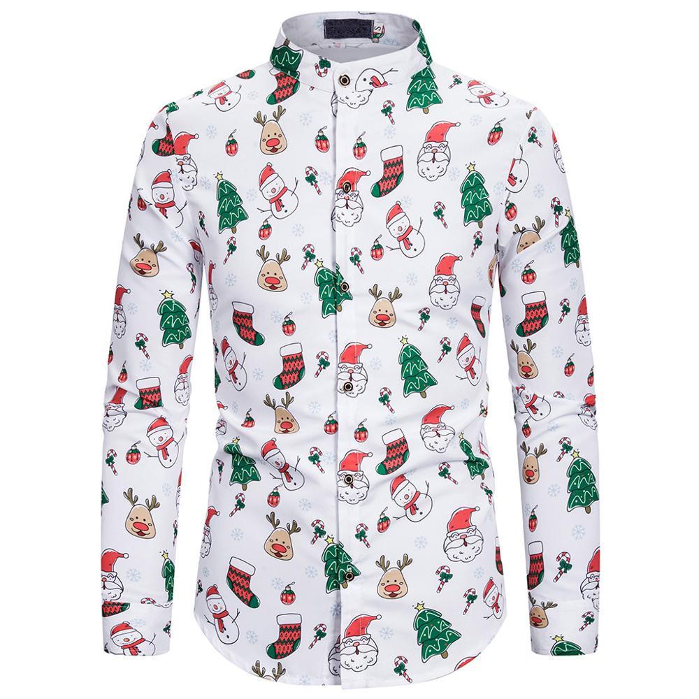 Casual Print Luxury Men Shirt Streetwear Summer Christmas Beach Shirt Male Fashion Long Sleeve Shirts Men