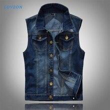 LOVZON Denim Vest Men's Jacket Sleeveless Casual Waistcoat Men's Jean Coat Ripped Slim Fit Male Jacket Cowboy 2020 Dropshipping