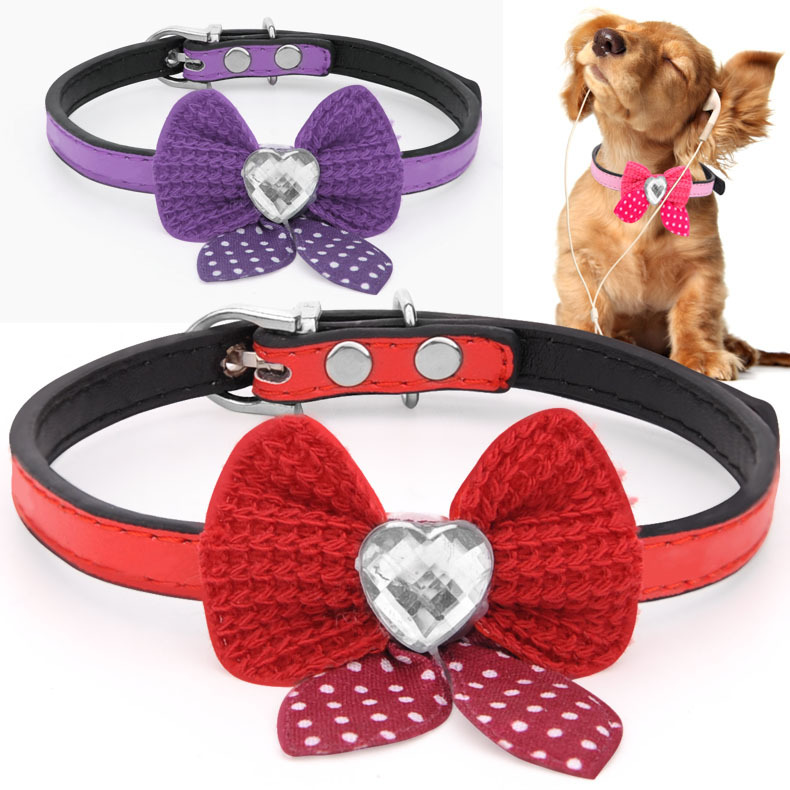 Pet Bow Neck Ring Small Dogs Collar Small Dog Collar Cat Teddy Bichon Dog Accessories