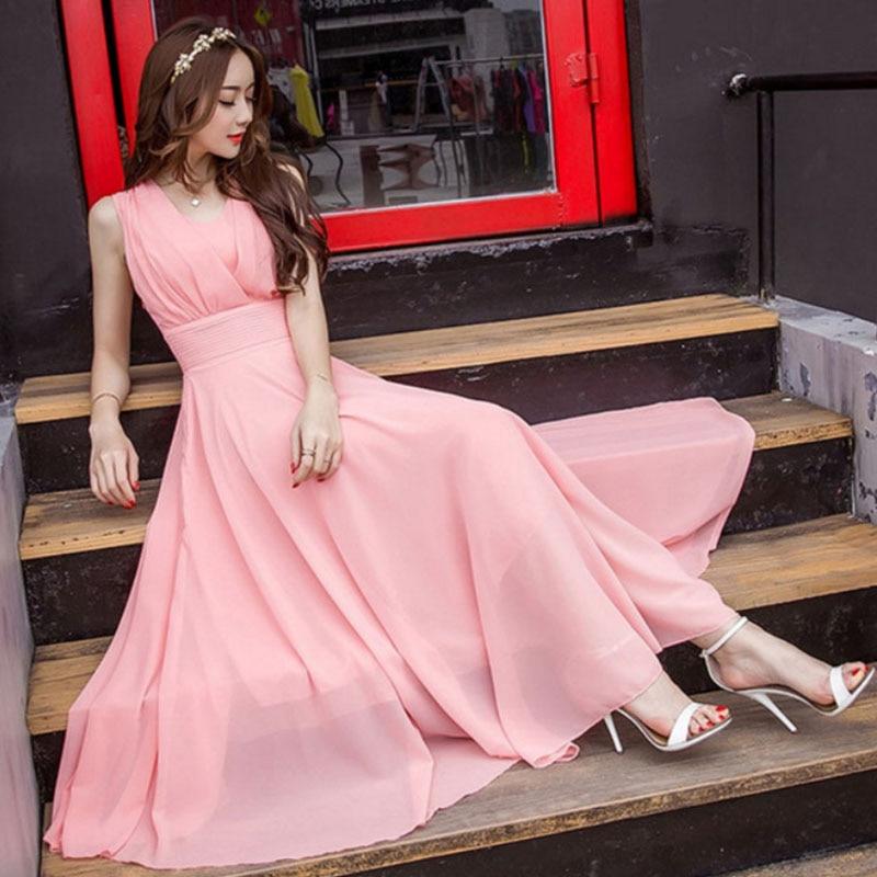 2019 Fashion Summer Boho Beach Chiffon Dress Elegant Sleeveless Tunic Sundress Solid Ladie Long Maxi Dress Holiday Plus Size 5XL