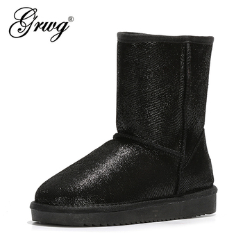 GRWG High Quality Australia Classic Lady Shoes Winter Waterproof 100% Genuine Cow Leather Women Snow Boots habuck women australia classic style snow boots winter warm genuine leather warterproof high quality ankle boots large size