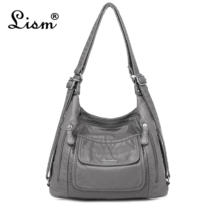 Women's Bag Large Capacity Soft PU Leather Handbag 2020 New Trend Ladies Shoulder Messenger Bag Gray