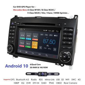 Car Multimedia Player Android 10 2 Din 2GB+16GB GPS Autoradio For Mercedes Benz B W245 B150 B160 B170 B180 B200 B55 2004-2012 image