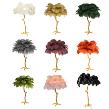 Modern Floor Lamp Nordic Copper Ostrich Feather Standing Lamps for Living Room Metal Decor Tall