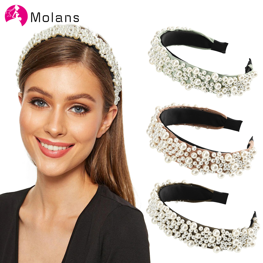 MOLANS Baroque Headband With Full Pearls Stud Hairbands Charming Pearls Beading Headbands For Women Vintage Female Hairband