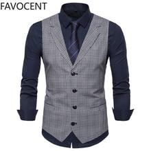Mens Suit Vest Fashion Slim Fit Thin Plaid Men Waistcoat Tops Slim Business Vest Waistcoat Man England Style Male Leisure Suits