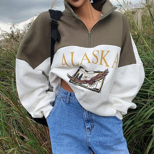 Spring Women Sweatshirts Vintage Streetwear Letter Printed Hoodies Women Back To The Basics Loose Sweatshirt with Fleece