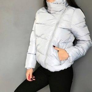 Image 3 - 女性ショートジャケットパーカー Mujer 2019 冬のジャケットコートファッション秋固体暖かいカジュアル詰めダウンパーカー女性のコートの女性