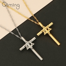 Jesus Star Of David Cross Necklace Women Hexagram Hamsa Hand Evil Eye Religious Amulet Gift For Mom Dad Necklace