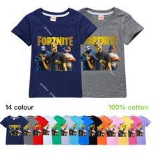 14 cores fortnite crianças de manga curta t-shirts de algodão menino garoto meninos meninas topos camisas streetwear crianças tshirt o-neck