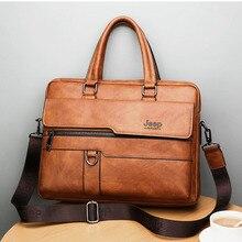 새로운 남성 서류 가방 비즈니스 가죽 가방 어깨 메신저 가방 작업 핸드백 14 인치 노트북 가방 Bolso Hombre Bolsa Masculina