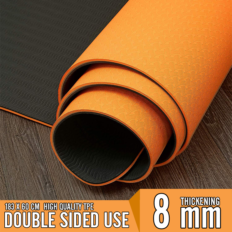183x600x8mm Thick Double Color Non Slip TPE Yoga Mats  Quality Exercise Sport Pilates Mat For Men Fitness Gym Home Tasteless Pad
