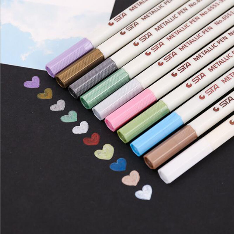 Painting Stationery STA Metallic Photo Pen Photo Album Pen Metal Pen 10 Color Nontoxic Art Watercolor Marking Stationery 1pc image