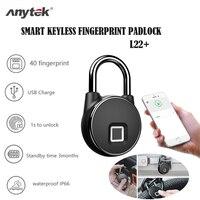 Anytek p22 + bluetooth remutável desbloquear inteligente keyless bloqueio de impressão digital à prova dwaterproof água ip66 anti-roubo securit porta bagagem cadeado
