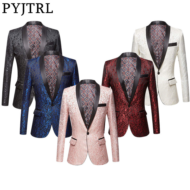 PYJTRL Men Pink Royal Blue Burgundy Floral Jacquard Suit Jacket Wedding Groom Prom Slim Fit Tuxedo Party Dinner Singers Blazers