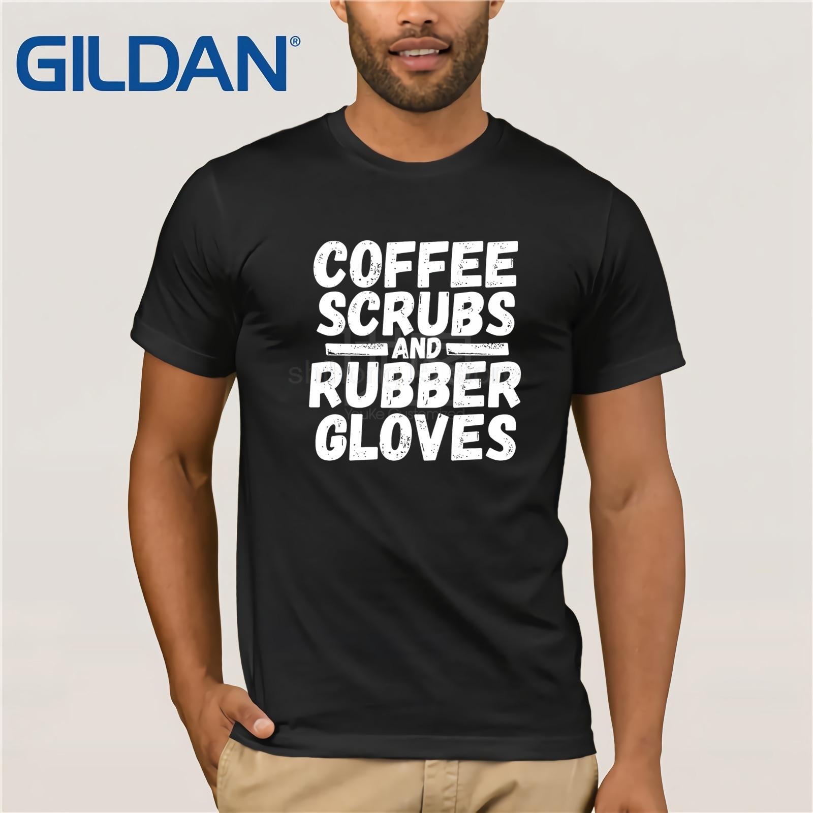 Surgical Tech Shirt Coffee Scrubs & Rubber Gloves Doctor Tee sunglasses men T-shirt for Men Tops Vintage Crew Neck