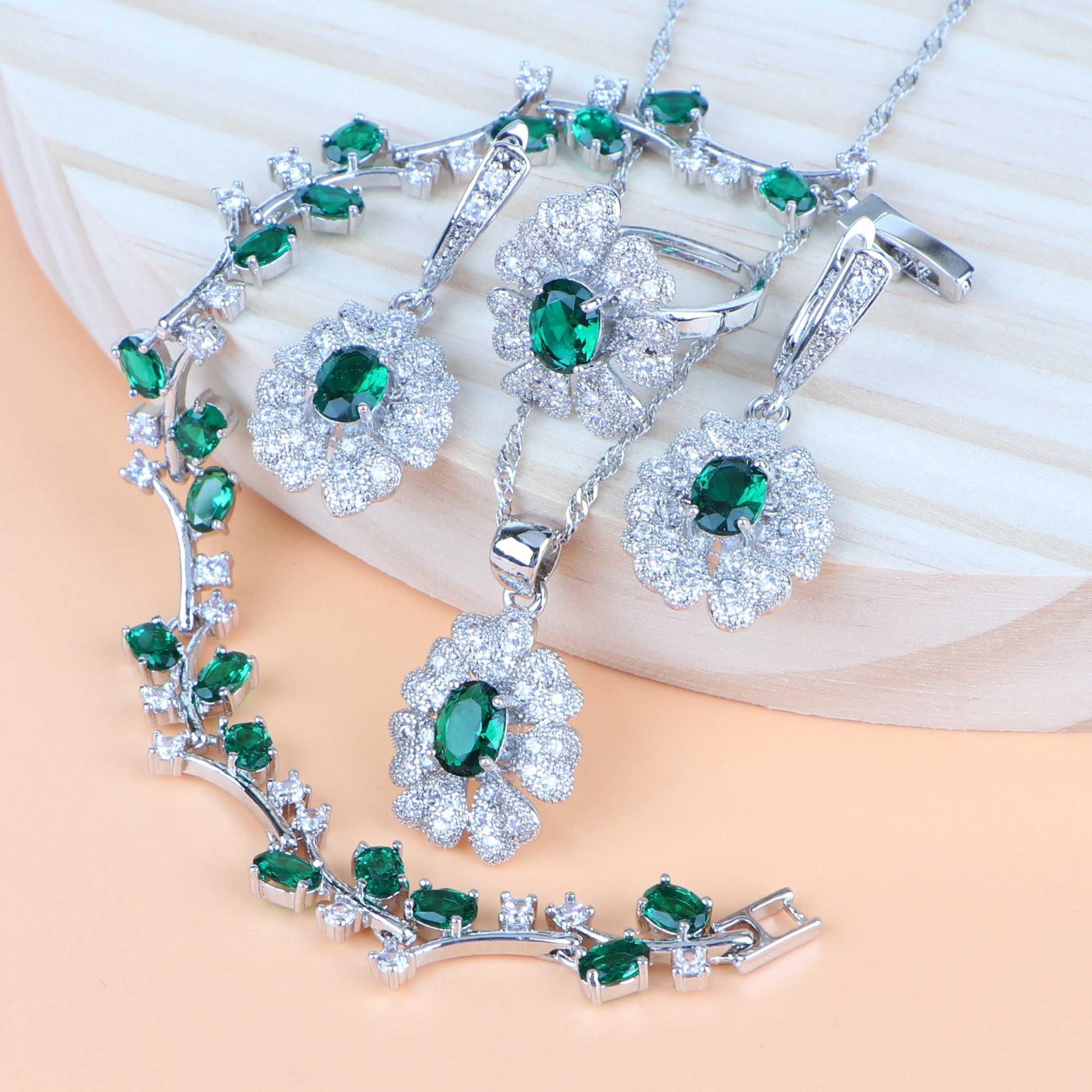เงิน 925 เครื่องประดับชุดเจ้าสาวงานแต่งงานสีเขียว Cubic Zirconia ชุดเครื่องประดับสร้อยข้อมือแหวนต่างหูชุดสร้อยคอจี้